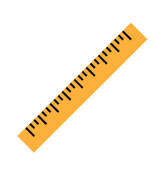 Silhouette of a yellow ruler in a flat style Silhouette of a yellow ruler in a flat style. Icon of the yellow ruler. Vector yellow ruler isolated on white background. Ruler top view illustration. Vector illustration Eps10 file ruler stock illustrations