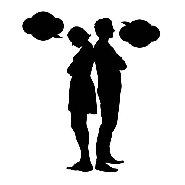 Silhouette of a young couple in a dispute - vektor Silhouette of a young couple in a dispute - vektor arguing stock illustrations