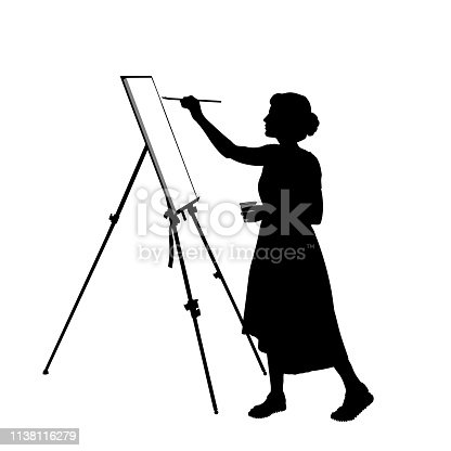 Silhouette of a young woman who paints a picture on the easel, vector illustration