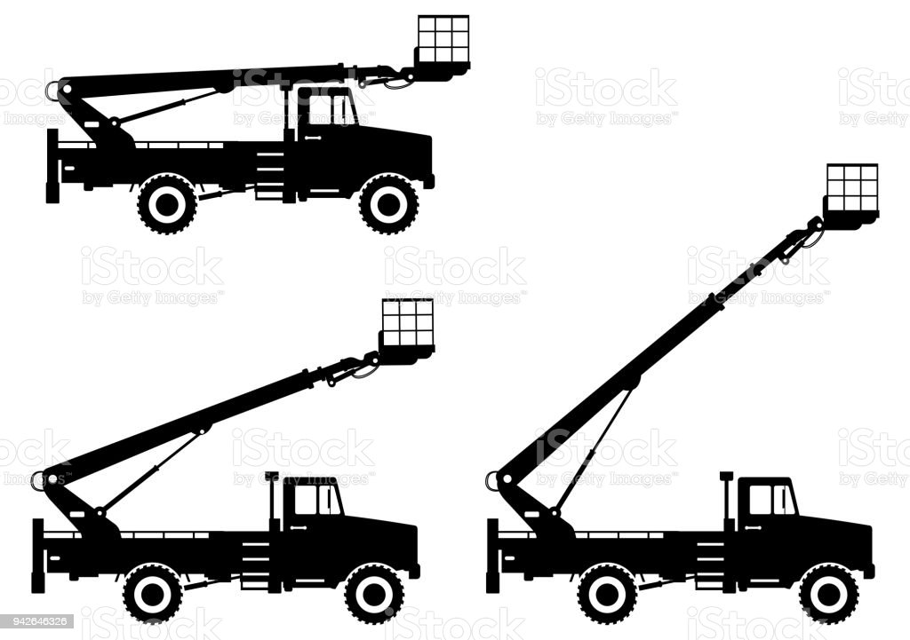 Silhouette Of Aerial Platform Truck With Different Boom Position