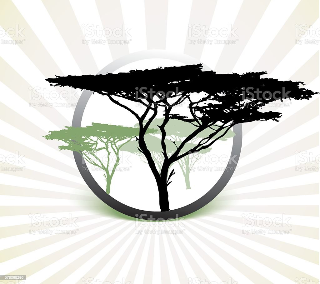 Silhouette of africa tree vector art illustration