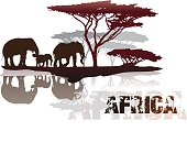 Silhouette of Africa trees and elephants