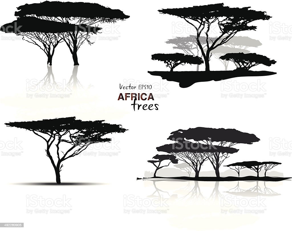 Silhouette of africa trees vector art illustration