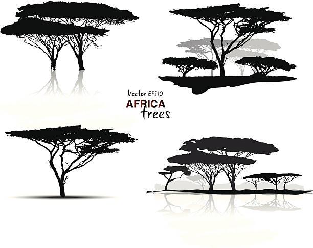 Silueta de los árboles de África - ilustración de arte vectorial