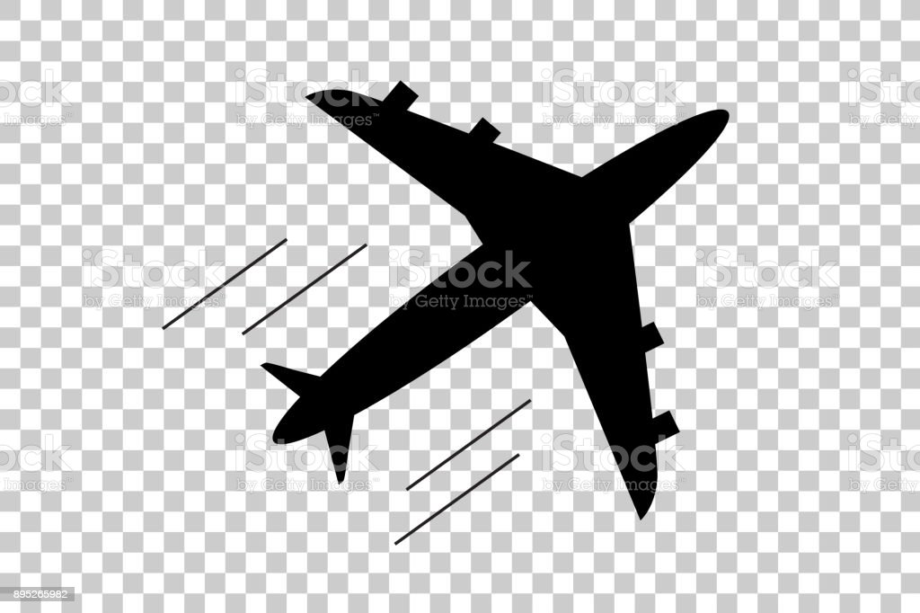 Silhouette Of Air Plane At Transparent Effect Background Stock