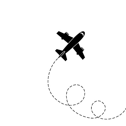 Silhouette of aircraft isolated on white background. Vector Image.