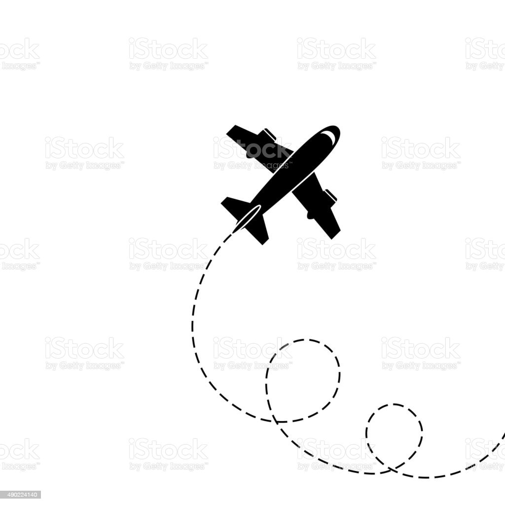 Silhouette of aircraft vector art illustration