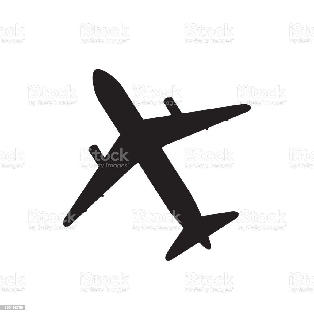 Ilustración de Silueta Del Avión Icono De Vector Negro Sobre Blanco ...