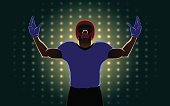 Silhouette of American football player extend the arms on spotlight background. he pleased with winning in competition.