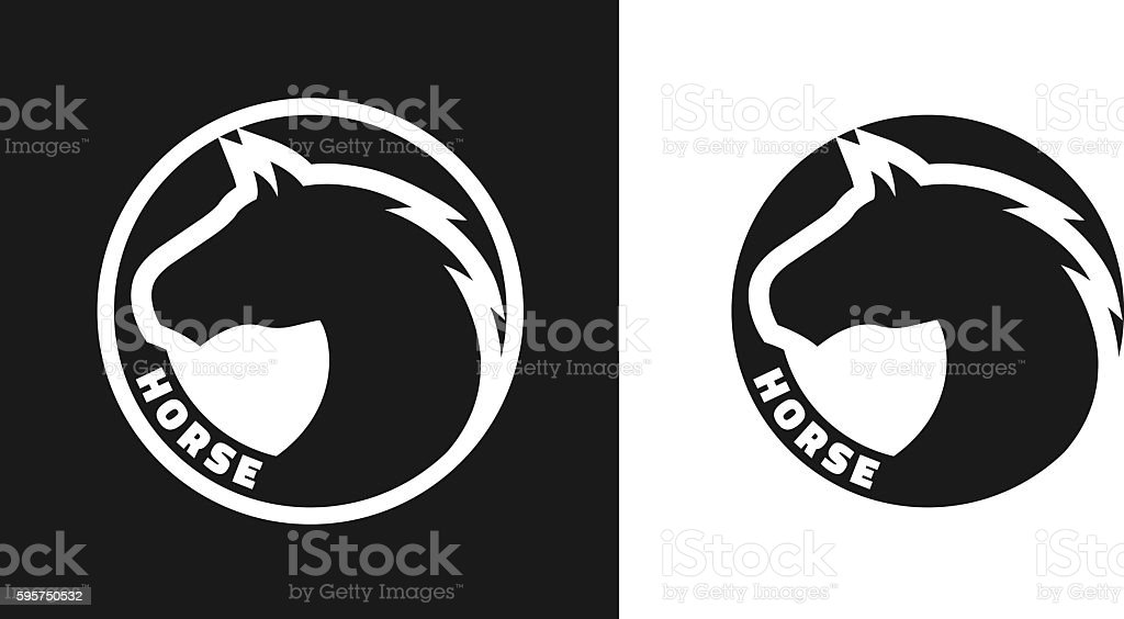 Silhouette of an horse, monochrome logo. vector art illustration