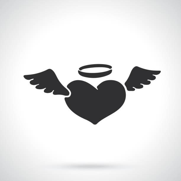 illustrazioni stock, clip art, cartoni animati e icone di tendenza di silhouette of angel heart with wings - aureola