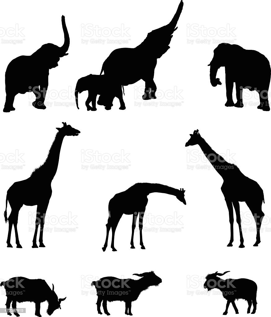 Silhouette of animals royalty-free stock vector art
