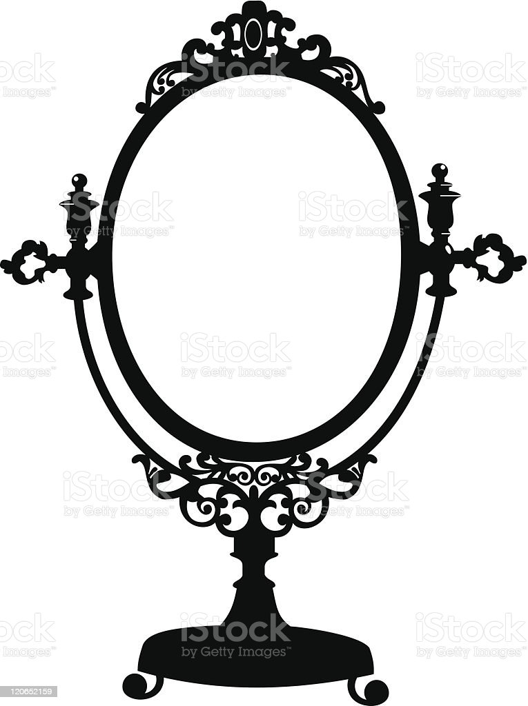 Silhouette of antique makeup mirror vector art illustration