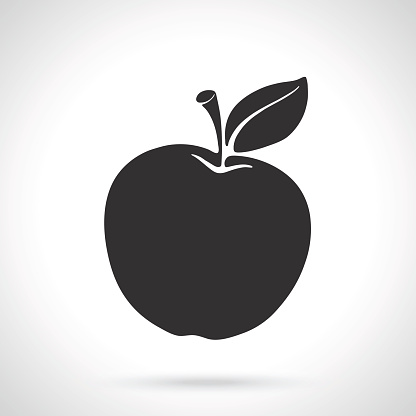 Silhouette Of Apple With Stem And Leaf Stock Illustration ...