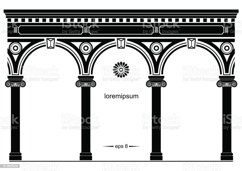 Silhouette of arched classical facade vector art illustration