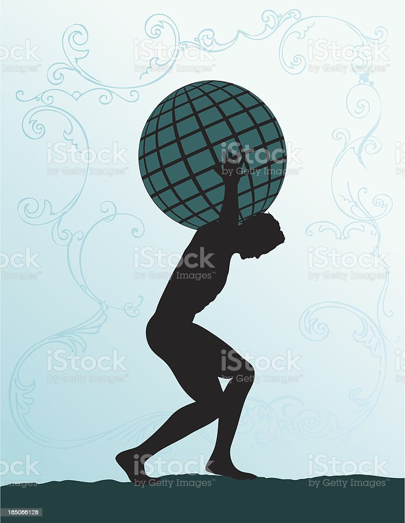Silhouette of Atlas carry the world on his back vector art illustration