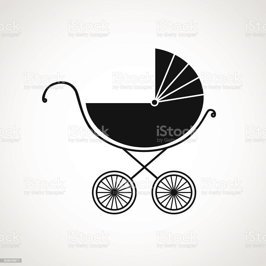 Silhouette of baby pram. Vector illustration. Beautiful background. vector art illustration