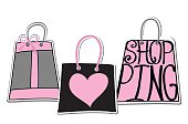 "Typography bags Design.Silhouette of bags from words on white  background .The message ""I love shopping"" .Cute Fashion illustration in vector."