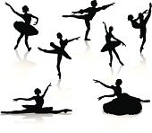Silhouette of ballerinas and dancer