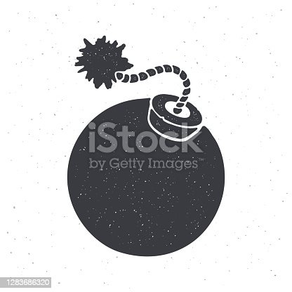 Silhouette of ball-shaped bomb with burning fuse rope. Vector illustration. Pattern for packaging, textiles, clothes, greeting cards. Isolated white background