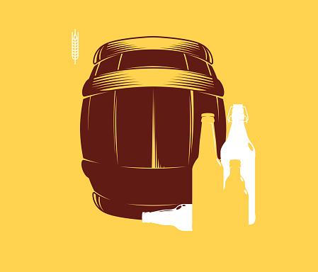 Download Silhouette Of Barrels And Beer Bottles Vector Illustration ...