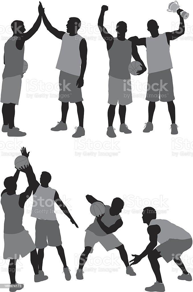 Silhouette of basketball player vector art illustration