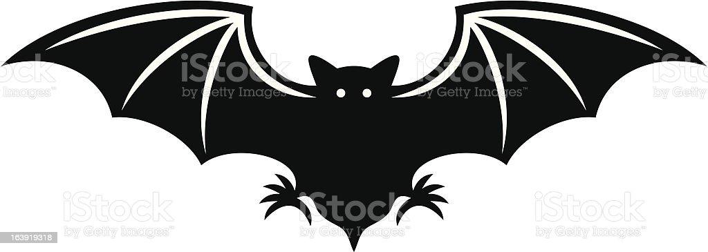 silhouette of bat vector art illustration