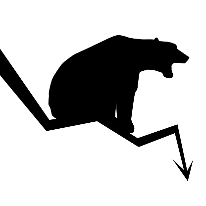 Silhouette of bear sitting on downward trend arrow isolated on white. Market fall symbol. Vector illustration.