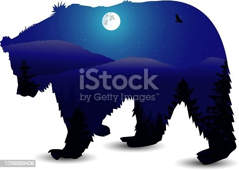 Silhouette of bear with panorama of mountains. Moonlight. Winter.