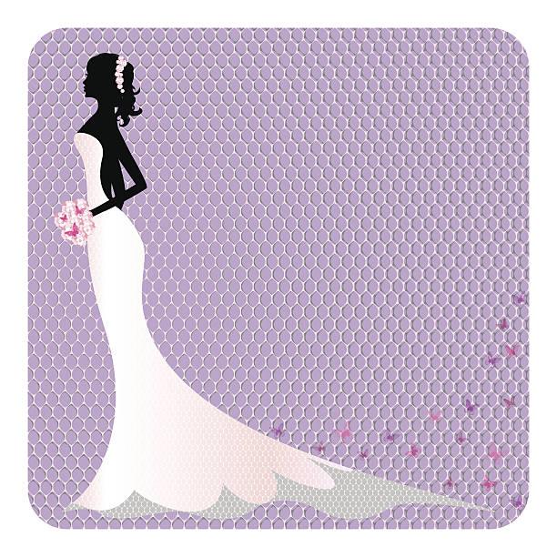 silhouette der schönen braut im kleid mit spitze - langhaarspitzen stock-grafiken, -clipart, -cartoons und -symbole