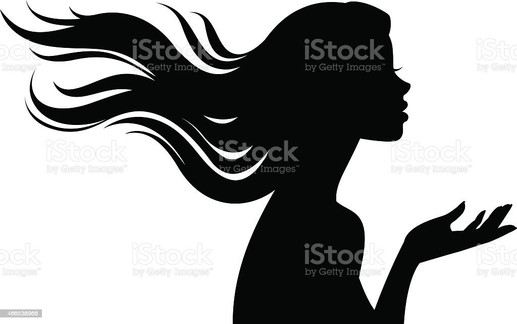Silhouette of beautiful girl in profile with long hair vector art illustration