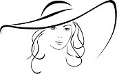 Silhouette of beautiful woman in a elegant hat. Vector illustration