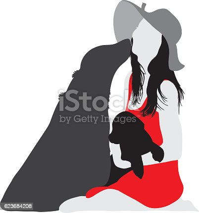 Silhouette of beautiful woman with hat and dogs