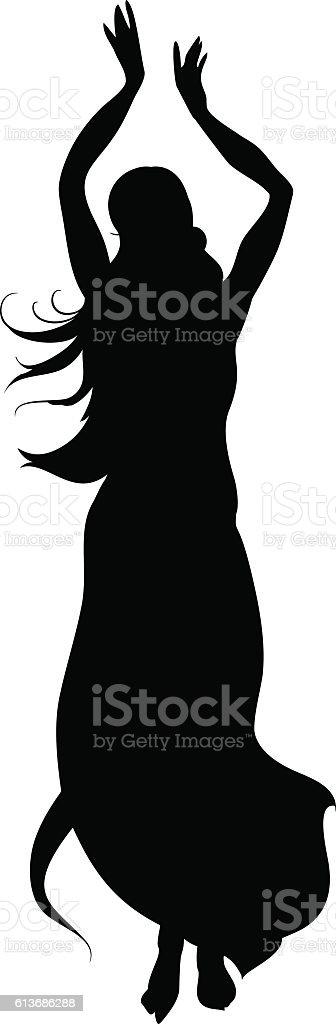 Silhouette of Bellydancer vector art illustration