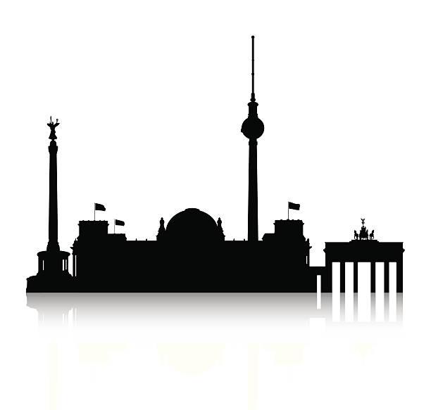 silhouette von berlin - berliner fernsehturm stock-grafiken, -clipart, -cartoons und -symbole