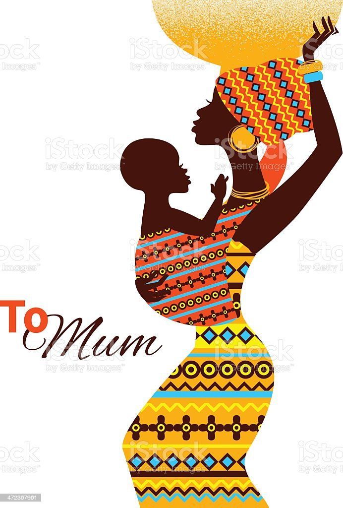 Silhouette of black african mother and baby vector art illustration