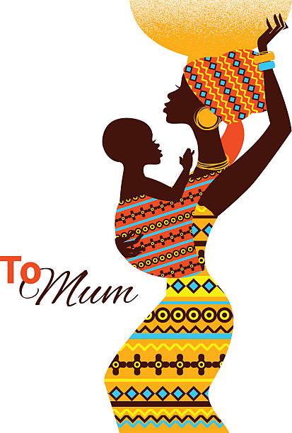 illustrazioni stock, clip art, cartoni animati e icone di tendenza di silhouette di madre e bambino nero africano - bambine africa