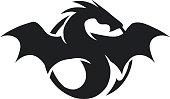 silhouette of black big dragon