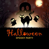 Celebrate Halloween at the spooky night party with silhouette of black cat and ghosts in the background