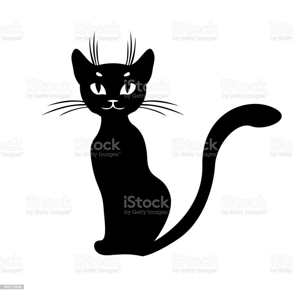 Siluet Kucing Hitam Duduk Ilustrasi Stok   Unduh Gambar Sekarang ...