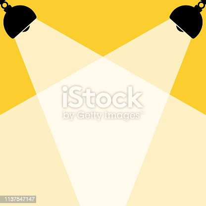 Silhouette of black lamps and White lights,yellow background,place for text,flat vector illustration