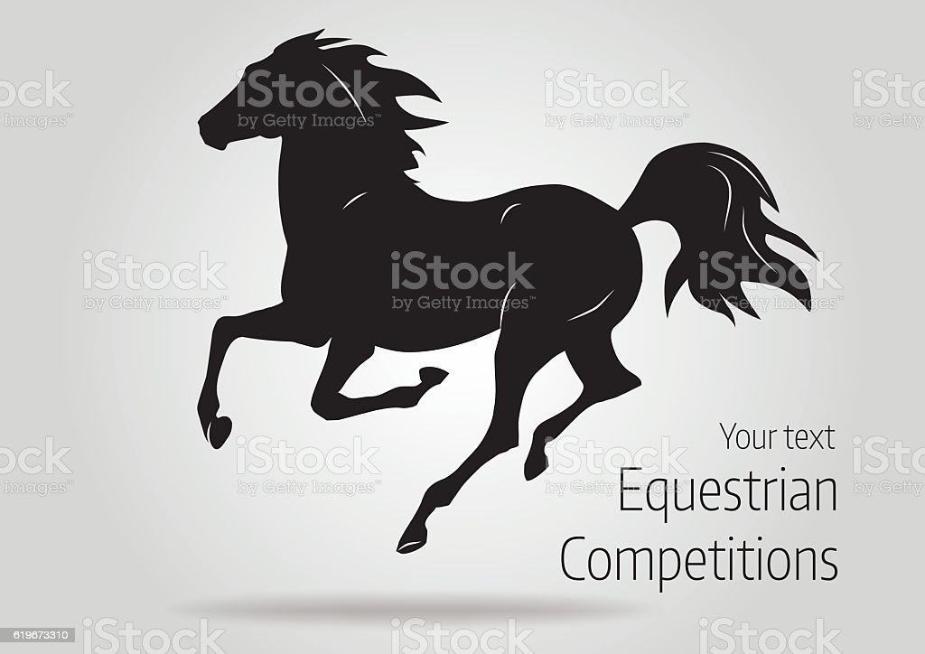 silhouette of black running horse - vector illustration vector art illustration