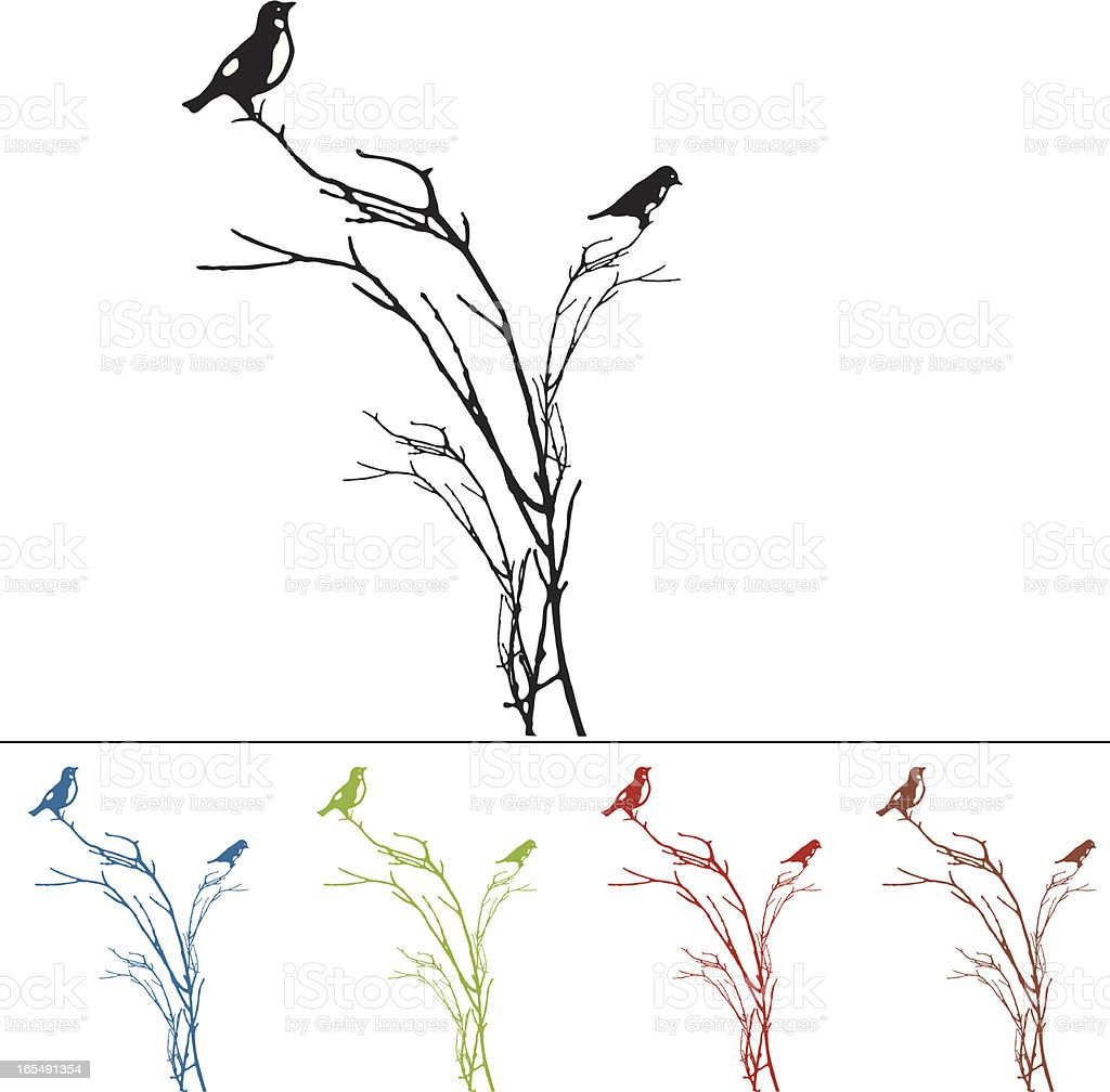 Silhouette of BlueBirds on a Branch royalty-free stock vector art