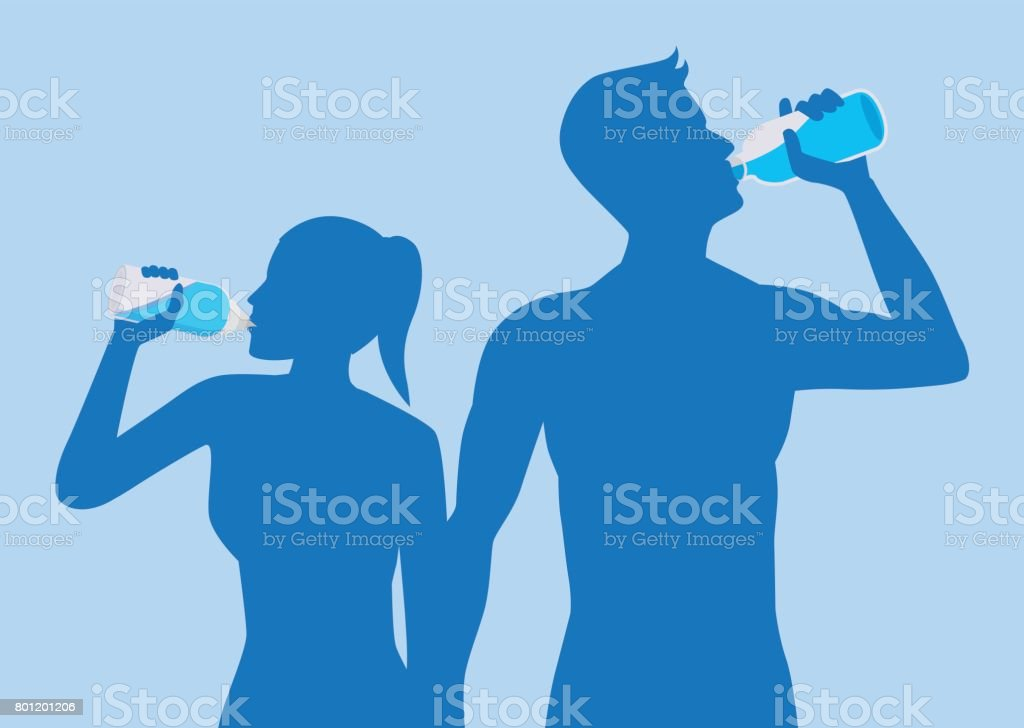Silhouette of body man and woman drinking water. vector art illustration