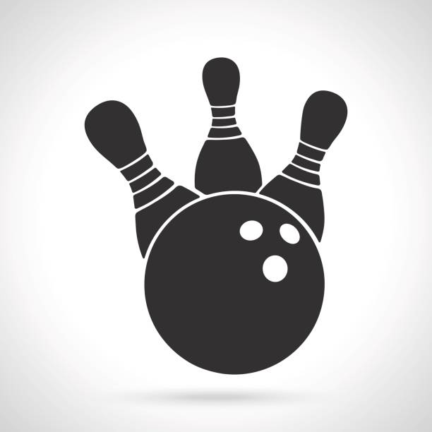 Silhouette of bowling ball knocks down pins vector art illustration