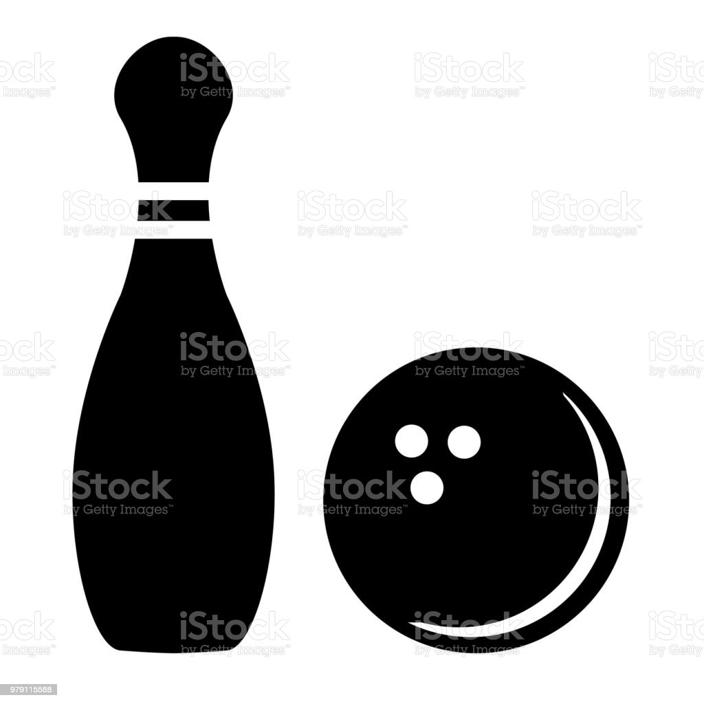 Silhouette of bowling pins and bowling ball vector art illustration