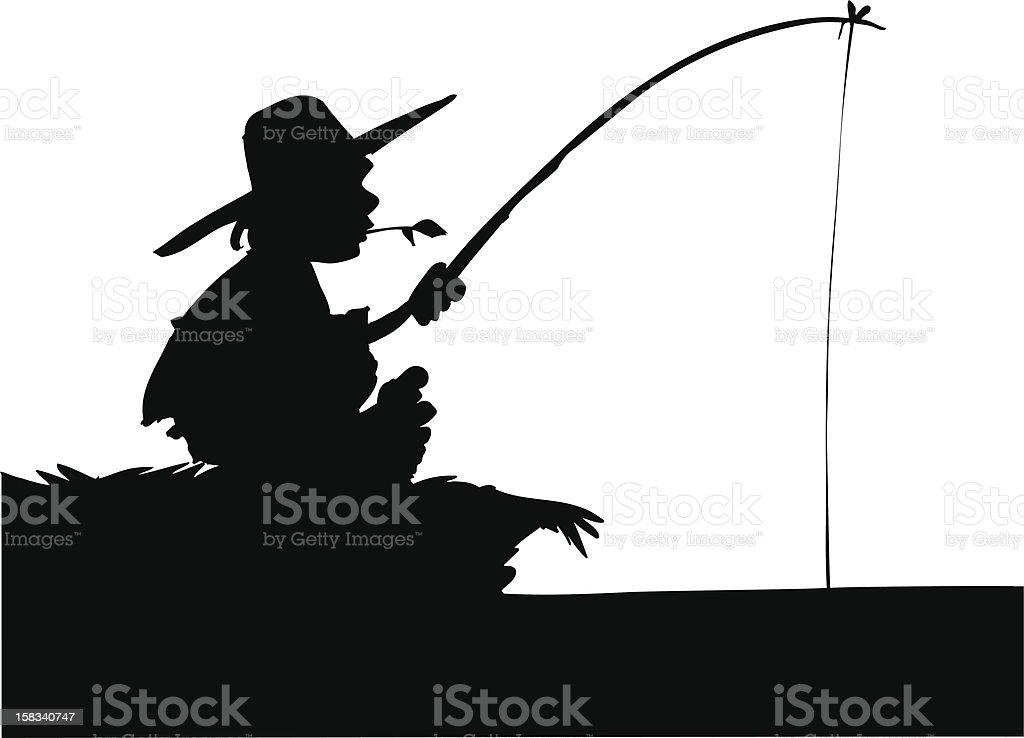 Silhouette der junge Angeln – Vektorgrafik