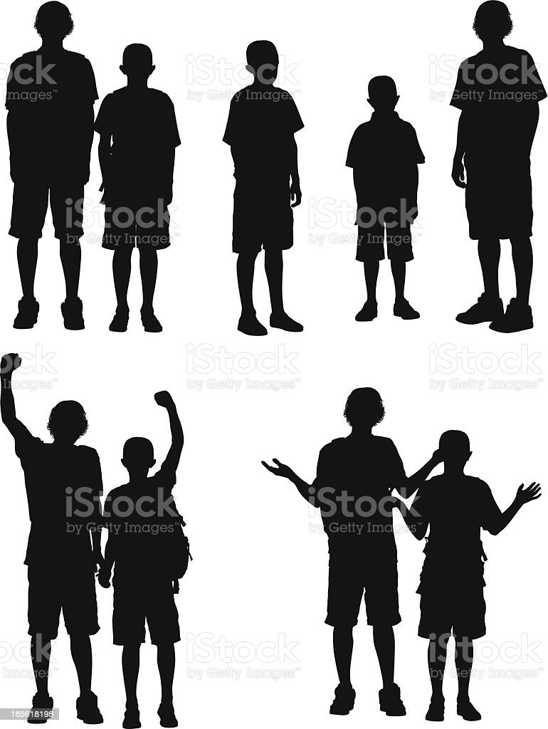Silhouette of boys vector art illustration
