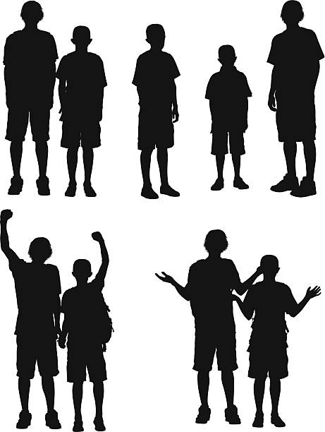 silhouette of boys - brother stock illustrations, clip art, cartoons, & icons