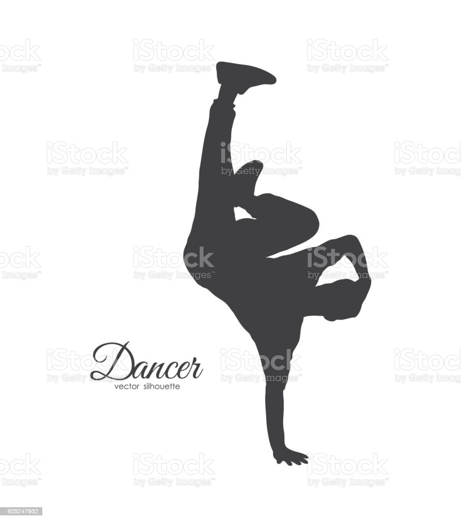 Silhouette Of Break Dancer Young Man Dancing Of Hip Hop On White ...